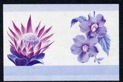 St Vincent - Bequia 1985 Flowers (Leaders of the World) $2.50 (Protea laurifolia & Thunbergia grandiflora) imperf se-tenant proof pair in magenta & blue only unmounted mint