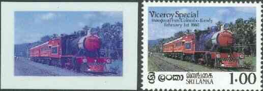 Sri Lanka 1986 Inaugural Run of 'Viceroy Special' Train die proof in red and blue only (missing Country name, value & inscription) on plastic card (ex archives) as SG 924 plus issued stamp