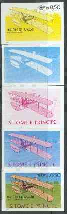 St Thomas & Prince Islands 1979 Aviation History 0.5Db (Wright Flyer 1) set of 5 imperf progressive proofs comprising blue and magenta single colours, blue & magenta and black & yellow composites plus all four colours unmounted mint