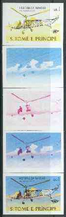 St Thomas & Prince Islands 1979 Aviation History 1Db (Sikorsky VS300) set of 5 imperf progressive proofs comprising blue and magenta single colours, blue & magenta and black & yellow composites plus all four colours unmounted mint
