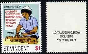 St Vincent 1987 Child Health $1 value opt'd World Population Control, with superb off-set of opt on reverse unmounted mint SG 1056var*