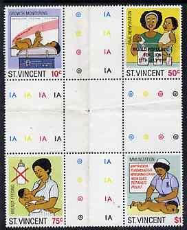 St Vincent 1987 Child Health perf set of 4 in se-tenant cross-gutter block (folded through gutters) one stamp with World Population Control as an overlay, from uncut archive proof sheet and almost certainly UNIQUE, SG 1053-56, some split perfs & wrinkles but a rare archive item