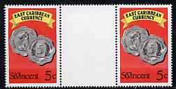 St Vincent 1987 East Caribbean Currency 5c value in unfolded gutter pair from uncut (Format) archive proof sheet, unmounted mint as SG 1098