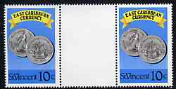 St Vincent 1987 East Caribbean Currency 10c value in unfolded gutter pair from uncut (Format) archive proof sheet, unmounted mint as SG 1100