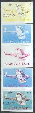St Thomas & Prince Islands 1979 Aviation History 7Db (Dornier DO X) set of 5 imperf progressive proofs comprising blue and magenta single colours, blue & magenta and black & yellow composites plus all four colours unmounted mint