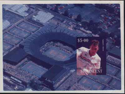 St Vincent - Bequia 1988 International Tennis Players $5 m/sheet (Ivan Lendl) die proof in red and blue only on Cromalin plastic card (ex archives)