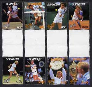 St Vincent 1987 International Tennis Players set of 8 in se-tenant gutter pairs (folded through gutters) from uncut archive proof sheets SG 1057-64