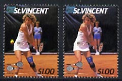 St Vincent 1987 International Tennis Players $1 (Chris Evert) unmounted mint with ball omitted plus normal, SG 1060var*