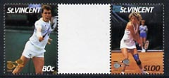 St Vincent 1987 International Tennis Players $1 (Chris Evert) & 80c (Ivan Lendl) in unmounted mint se-tenant gutter pair with ball omitted (from uncut archive sheet), SG 1059 & 1060var
