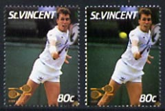 St Vincent 1987 International Tennis Players 80c (Ivan Lendl) unmounted mint with ball omitted plus normal, SG 1059var*