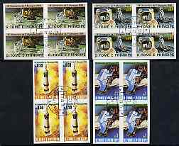 St Thomas & Prince Islands 1980 Moon Landing Anniversary set of 4, each in imperf blocks of 4 with central 'CTT 10.12.80 St Tome cancel, probably publicity proofs