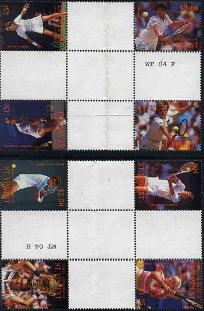 St Vincent - Bequia 1988 International Tennis Players set of 8 in se-tenant cross-gutter block (folded through gutters) from uncut archive proof sheet, some split perfs & wrinkles but a rare archive item unmounted mint