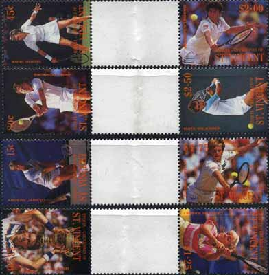 St Vincent - Bequia 1988 International Tennis Players set of 8 in se-tenant gutter pairs (folded through gutters) from uncut archive proof sheets unmounted mint