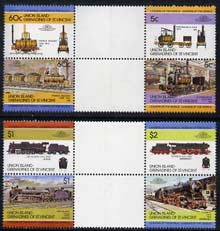 St Vincent - Union Island 1984 Locomotives #1 (Leaders of the World) set of 8 in se-tenant gutter pairs (folded through gutters) from uncut archive proof sheets unmounted mint