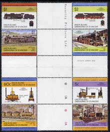 St Vincent - Union Island 1984 Locomotives #1 (Leaders of the World) set of 8 in se-tenant cross-gutter block (folded through gutters) from uncut archive proof sheet, some split perfs & wrinkles but a rare archive item unmounted mint