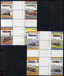 St Vincent - Union Island 1984 Locomotives #2 (Leaders of the World) set of 16 in se-tenant cross-gutter block (folded through gutters) from uncut archive proof sheet, some split perfs & wrinkles but a rare archive item unmounted mint