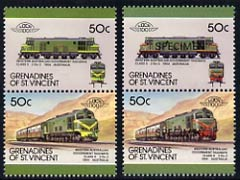 St Vincent - Grenadines 1987 Locomotives #8 (Leaders of the World) 50c Western Australia Class X unmounted mint se-tenant pair with red omitted plus Se-tenant pair opt'd SPECIMEN as normal, SG 524avar*