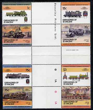 St Vincent - Grenadines 1985 Locomotives #3 (Leaders of the World) set of 8 in se-tenant cross-gutter block (folded through gutters) from uncut archive proof sheet (SG 351-8) some split perfs & wrinkles but a rare archive item unmounted mint