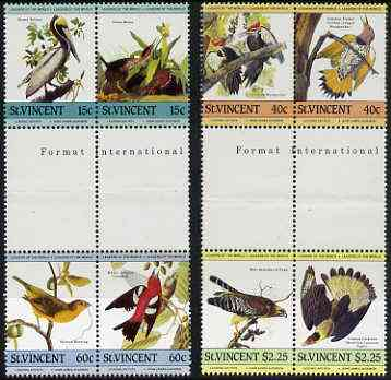 St Vincent 1985 John Audubon Birds (Leaders of the World) set of 8 in se-tenant gutter pairs (folded through gutters) from uncut archive proof sheets unmounted mint (SG 854-61)