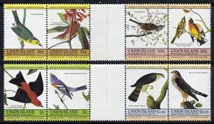 St Vincent - Union Island 1985 John Audubon Birds (Leaders of the World) set of 8 in se-tenant gutter pairs (folded through gutters) from uncut archive proof sheets unmounted mint