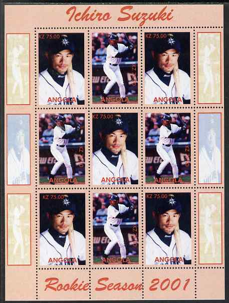 Angola 2001 Baseball Rookie Season - Ichiro Suzuki perf sheetlet containing 9 values unmounted mint. Note this item is privately produced and is offered purely on its thematic appeal