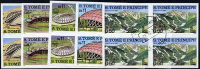 St Thomas & Prince Islands 1980 Olympic Stadia set of 5, each in imperf blocks of 4 with central 'CTT 28.12.79 St Tome cancel, pre-release publicity proofs (set was issued 13.6.80)