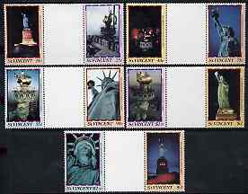 St Vincent 1986 Statue of Liberty Centenary set of 10 in se-tenant gutter pairs (folded through gutters) from uncut archive proof sheets unmounted mint SG 1034-43