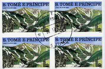 St Thomas & Prince Islands 1980 Olympic Stadia one value in imperf block of 4 with central 'CTT 28.12.79 St Tome cancel, pre-release publicity proof (set was issued 13.6.80)
