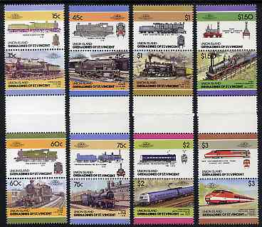 St Vincent - Union Island 1986 Locomotives #5 (Leaders of the World) set of 16 in se-tenant gutter pairs (folded through gutters) from uncut archive proof sheets unmounted mint