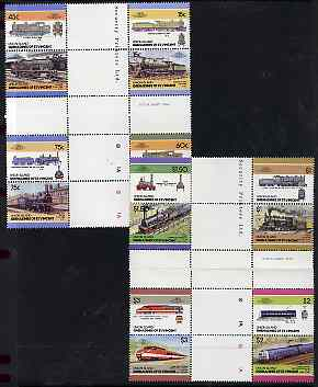 St Vincent - Union Island 1986 Locomotives #5 (Leaders of the World) set of 16 in se-tenant cross-gutter block (folded through gutters) from uncut archive proof sheet, some split perfs & wrinkles but a rare archive item unmounted mint