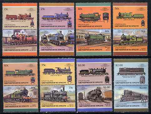 St Vincent - Union Island 1987 Locomotives #6 (Leaders of the World) set of 16 unmounted mint
