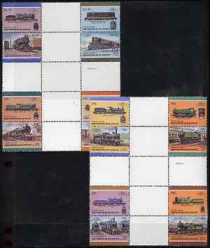 St Vincent - Union Island 1987 Locomotives #6 (Leaders of the World) set of 16 in se-tenant cross-gutter block (folded through gutters) from uncut archive proof sheet, some split perfs & wrinkles but a rare archive item unmounted mint