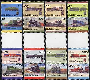 St Vincent - Union Island 1987 Locomotives #7 (Leaders of the World) set of 16 in se-tenant gutter pairs (folded through gutters) from uncut archive proof sheets unmounted mint