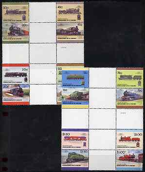 St Vincent - Union Island 1987 Locomotives #7 (Leaders of the World) set of 16 in se-tenant cross-gutter block (folded through gutters) from uncut archive proof sheet, some split perfs & wrinkles but a rare archive item unmounted mint