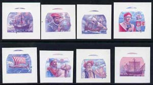 St Vincent - Bequia 1988 Explorers set of 8 die proofs in red and blue only (missing Country name, value & inscriptions) on Cromalin plastic card (ex archives).