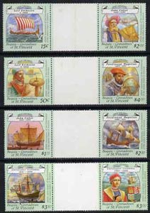 St Vincent - Bequia 1988 Explorers set of 8 in se-tenant gutter pairs (folded through gutters) unmounted mint from uncut archive proof sheets.