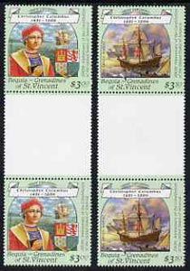 St Vincent - Bequia 1988 Christopher Columbus $3.50 & $3 perf values from Explorers set each in unmounted mint unfolded gutter pairs from uncut archive proof sheet.