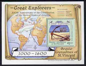 St Vincent - Bequia 1988 Explorers $5 m/sheet (Map & Anchor) with stamp perforated on three sides only (imperf at right) unmounted mint from an archive proof sheet.