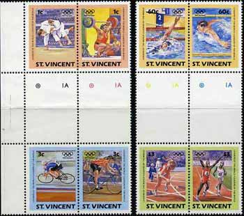 St Vincent 1984 Olympics (Leaders of the World) set of 8 in se-tenant gutter pairs (folded through gutters & 2 stamps creased) from uncut archive proof sheet unmounted mint (SG 812-19)