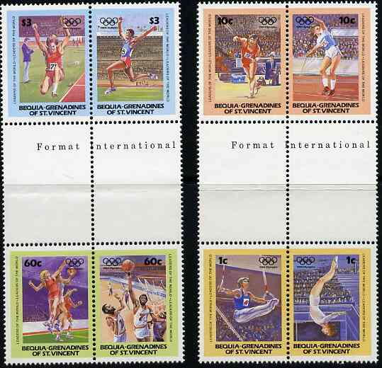 St Vincent - Bequia 1984 Olympics (Leaders of the World) set of 8 in se-tenant gutter pairs (folded through gutters) from uncut archive proof sheet unmounted mint