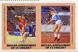 St Vincent - Bequia 1984 Olympics (Leaders of the World) 10c (Javelin) imperf se-tenant pair plus normal perf pair unmounted mint, stamps on sport     olympics       javelin