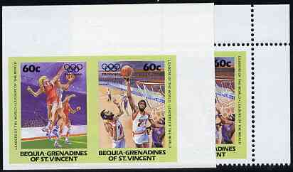 St Vincent - Bequia 1984 Olympics (Leaders of the World) 60c (Netball & Basketball) imperf se-tenant pair plus normal perf pair unmounted mint