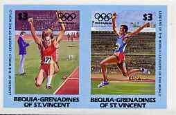 St Vincent - Bequia 1984 Olympics (Leaders of the World) $3 (Long Jump) imperf se-tenant pair plus normal perf pair unmounted mint