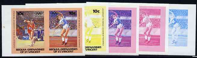 St Vincent - Bequia 1984 Olympics (Leaders of the World) 10c (Javelin) set of 5 imperf se-tenant progressive colour proof pairs comprising two individual colours, two 2-colour composites plus all 4-colour final design unmounted mint