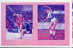 St Vincent - Bequia 1984 Olympics (Leaders of the World) 10c (Javelin) imperf se-tenant progressive colour proof pair in magenta & blue only unmounted mint