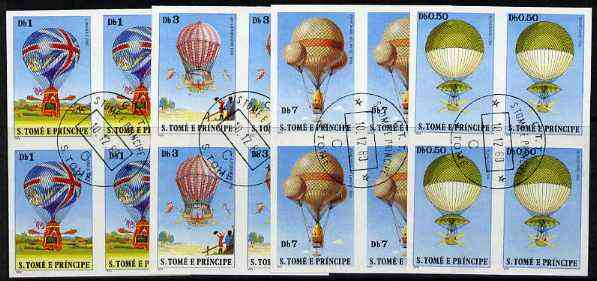 St Thomas & Prince Islands 1979 Balloons 0.5, 1, 3 & 7Db each in imperf blocks of 4 with central 'CTT 10.12.80 St Tome cancel, believed to be publicity proofs