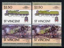 St Vincent 1983 Locomotives #1 (Leaders of the World) $2.50 se-tenant pair wrongly inscribed '4-6-0' plus normal correctly inscribed '4-4-0' (SG 756avar) unmounted mint
