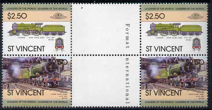 St Vincent 1983 Locomotives #1 (Leaders of the World) $2.50 se-tenant gutter pair (correctly inscribed '4-4-0') unmounted mint from uncut proof sheets (additional sheets of this value were printed to compensate for the '4-6-0' inscription error) SG 756a