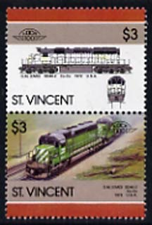 St Vincent 1986 Locomotives #6 (Leaders of the World) $3 se-tenant pair with bright green omitted from upper stamp, SG 1007avar unmounted mint