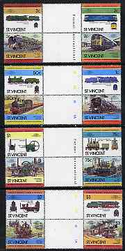 St Vincent 1984 Locomotives #2  (Leaders of the World) set of 16 in se-tenant gutter pairs (folded through gutters) from uncut archive proof sheets (SG 792-807) unmounted mint